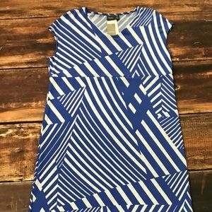 Chico's Travelers, Blue White Striped Dress Size 3